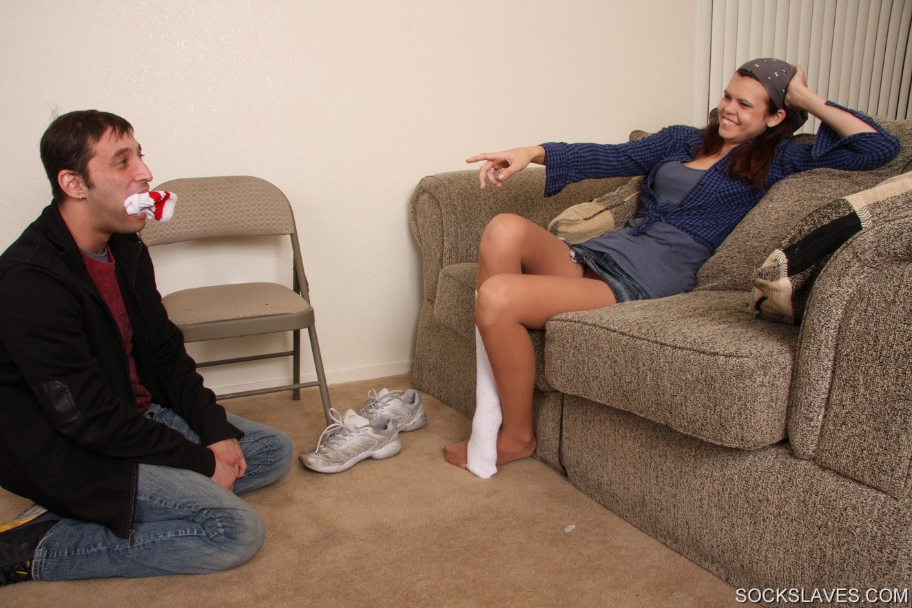 mistress chastity gets her sneakers licked clean and socks worshipped